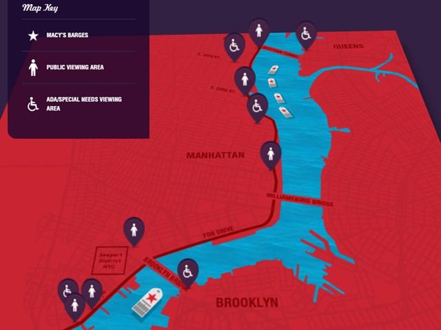 Macy's Fireworks Map