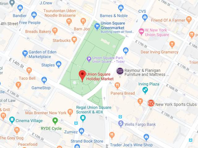 Union Square Holiday Market Map