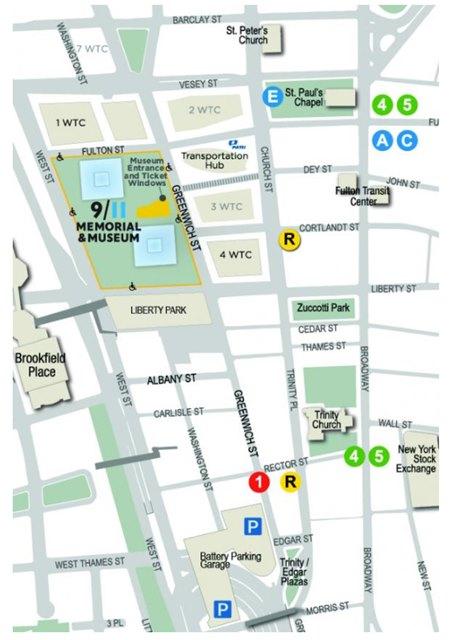911 Museum Map