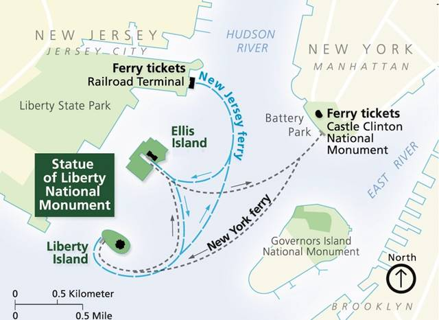 Statue of Liberty Ferry Map