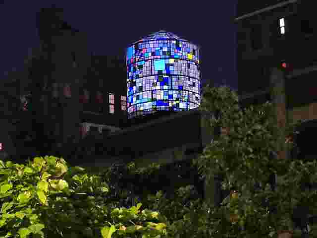 tom fruin stained glass water tower