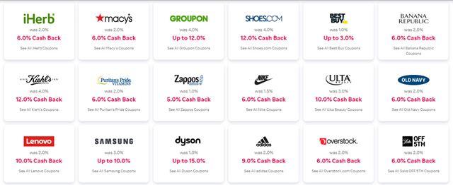 Rakuten Cash Back Stores (1)