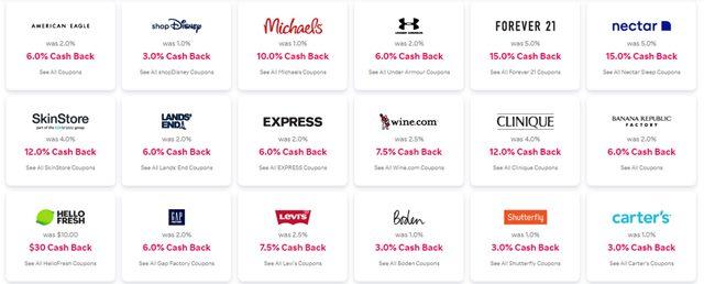 Rakuten Cash Back Stores (2)
